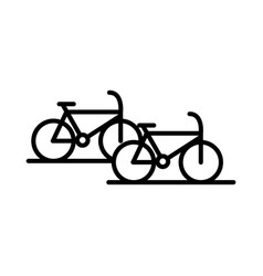 Parking bicycles transport line style icon design vector