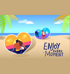 poster with couple on coast and stylish vector image
