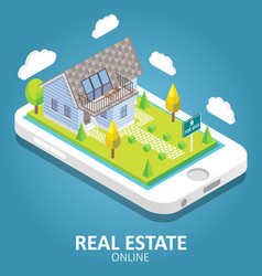 Real estate online isometric vector