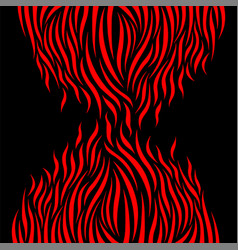 red flame elements isolated on black background vector image