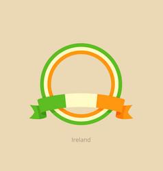 Ribbon and circle with flag of ireland vector