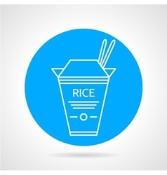 Rice box round icon vector