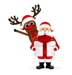 Santa Claus and reindeer cartoon with a gift vector