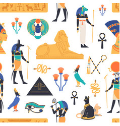 Seamless pattern with gods deities and vector