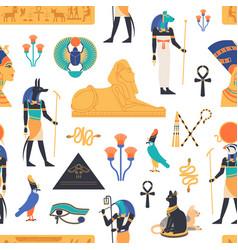 Seamless pattern with gods deities vector