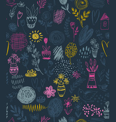 seamless pattern with hand drawn floral nature vector image