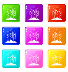 serfing board set 9 vector image
