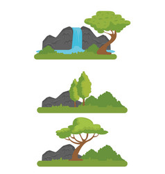 set nature wildlife reserve with river and vector image