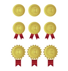 set of gold medals with red ribbons vector image