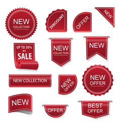 set price tags ribbon sale banners vector image