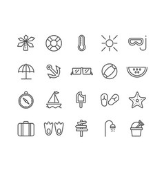 simple set summer thin line icons editable vector image