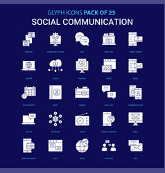 social communication white icon over blue vector image