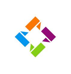 Square 3d shape circle logo vector