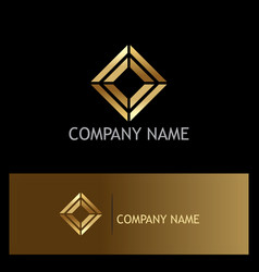 Square shape geometry gold logo vector