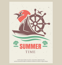 Summer time retro poster design template vector