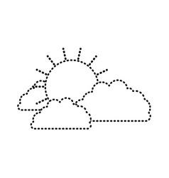 Sun and clouds monochrome sticker silhouette vector