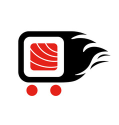 Sushi delivery logo template vector