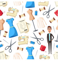 tailor sewing machine needle mannequins pattern vector image