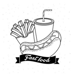 Tasty fries french and hot dog with soda vector