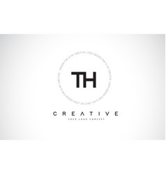 Th t h logo design with black and white creative vector