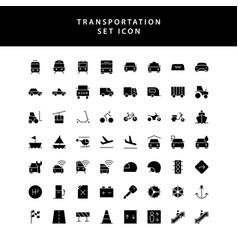 transportation glyph style icon set vector image