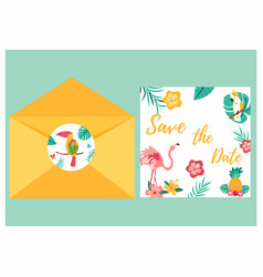 Tropical invitation card with bright birds vector