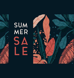 Tropical sale design with exotic palm vector