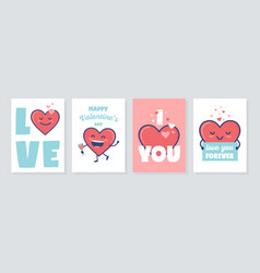 valentines day gift tag or card set with vector image