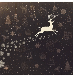 vintage christmas background with deer vector image vector image