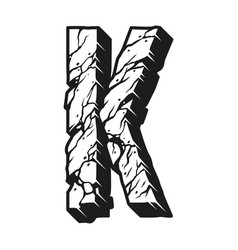 Vintage monochrome desert style letter k vector