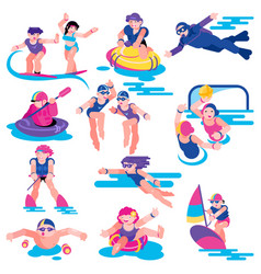 water sport people character on vacation vector image