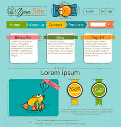 Website template with cartoon birds vector