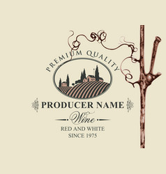 wine label with grapevine and rural landscape vector image
