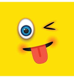 winking tongue out square emoji vector image