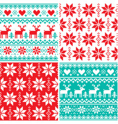 Winter pattern set christmas seamless design vector