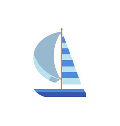 Yacht sailing ship boat with a striped sail vector