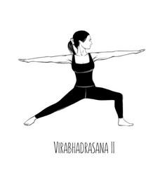 Yoga pose virabhadrasana ii vector