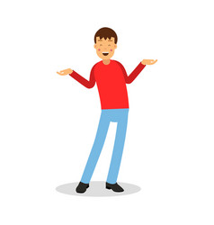 young happy smiling man in red pullover standing vector image
