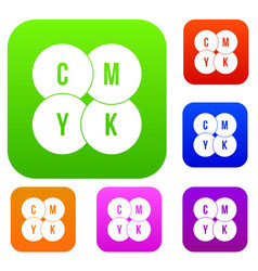 cmyk circles set collection vector image vector image