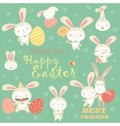 Collection of Easter bunny with colorful egg vector image vector image