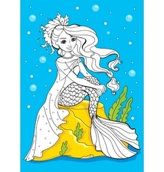 Coloring Book Of Beauty Mermaid Sitting On Stone vector image vector image