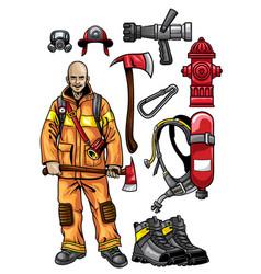 firefighter gear set vector image