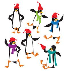 funny penguins set vector image vector image