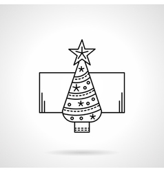 New Year tree black flat line icon vector image vector image