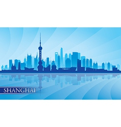 Shanghai city skyline silhouette background vector image