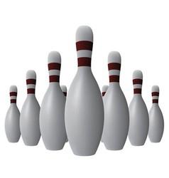 Ten bowling pins vector image