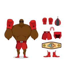 Boxer and accessory set Sportsman champion Sport vector image vector image
