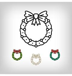 Christmas wreath isolated icon decoration vector