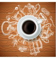 cup of black tea with tea items creative vector image