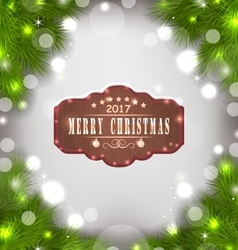 Holiday Banner with Fir Branches and Wooden Sign vector image vector image